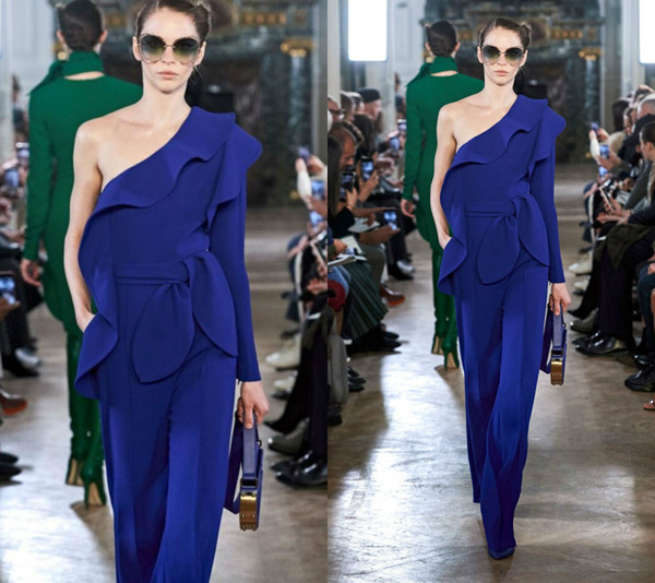 2019 Elie Saab Royal Blue Jumpsuits One Shoulder Long Sleeves Satin Ruffles Fashion Prom Dress Ankle Length Custom Made Evening Gowns