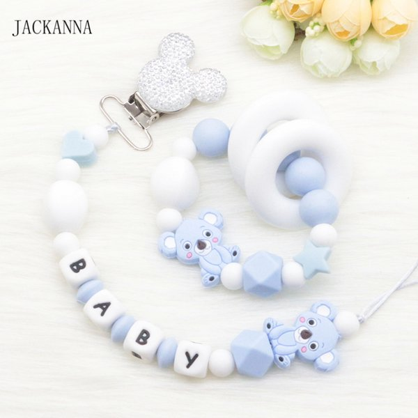 Personalized Name Leopard Print Baby Pacifier Clip