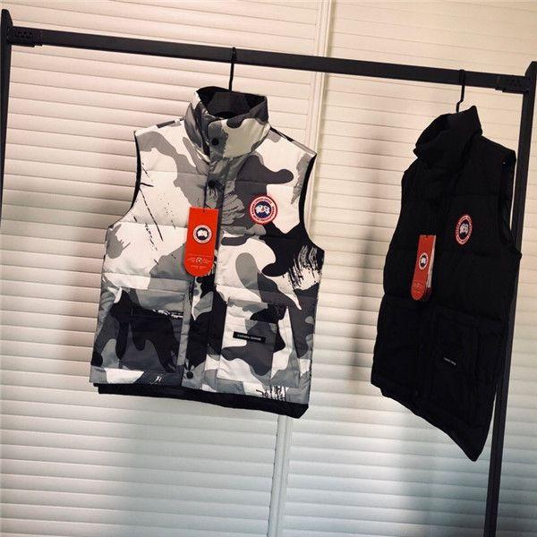 Kanada yelek Kaz Kamuflaj Aşağı Ceket tutmak ılık Yelek Aşağı Coat Kazaklar Erkekler Kadınlar Streetwear Casual Kapüşonlular Açık Aşağı Wear gider