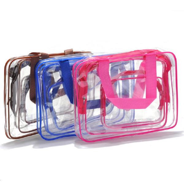 3 Teile / satz Transparent Make-Up Taschen PVC Reißverschluss Klar Wasserdichte Kosmetiktasche Frauen Reise Aufbewahrungsbeutel Make-Up Veranstalter Fall GGA2045