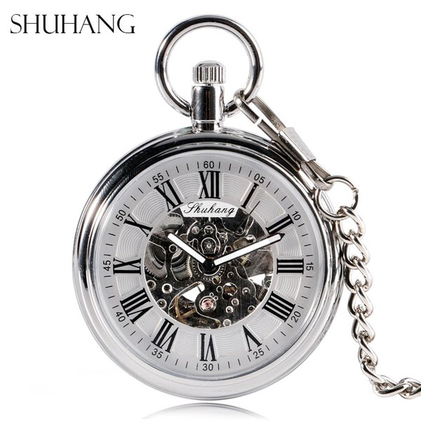 pocket wind SHUHANG New Mechanic 2017 Men Automatic Self Winding Pocket Watch Silver Simple Open Face Chain Pendant with Roman