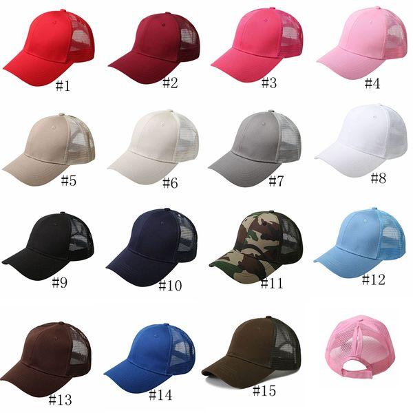 top popular 15color Ponytail Baseball Cap Plain Messy Bun Trucker Ponycap Snapback Summer Mesh Camo Hats Women Beach Mesh Baseball Hat GGA3082 2021