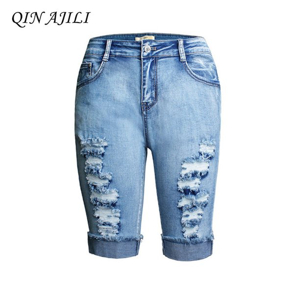 QIN AJILI Femme Calf-Length Pants Skinny Soft High Waist Denim Cotton Women's Jeans Hole Ripped Cuffs England Style Pencil Pants