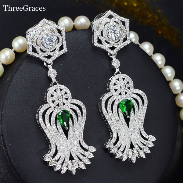 Threegraces 4 Color Options Super Long Dangle Cubic Zirconia Stone Setting Green Crystal Vintage Drop Earrings For Bridal Er278 J190507