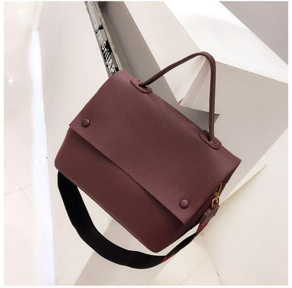 Women handbag designer Color wide strap Female Shoulder Bags pu leather Messenger Bags Winter new Ladies Big totes green