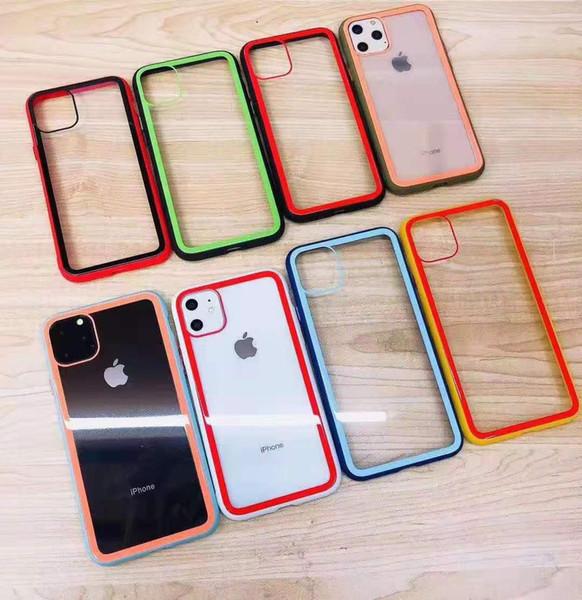 IPhone 11 Xr Xs Max X 8 Plus com capa traseira em vidro temperado, capa protetora colorida para celular i6 / i7plus