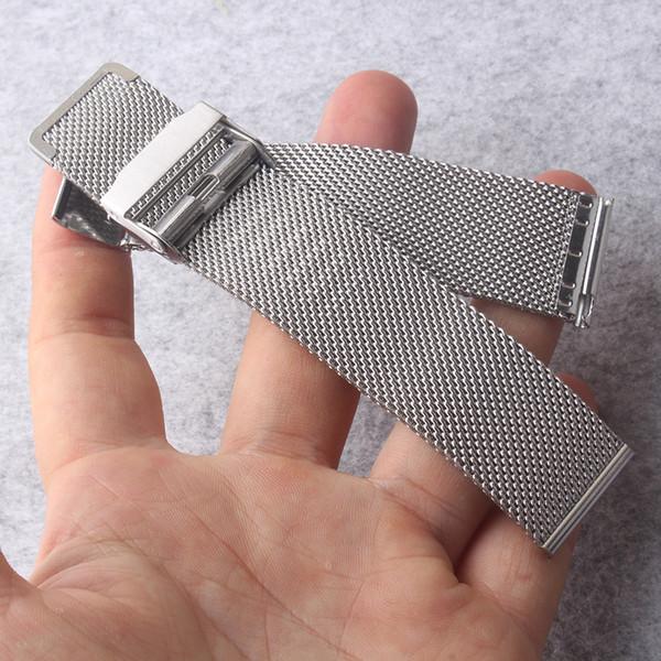 Cinturini per orologi 14mm 16mm 18mm 20mm 22mm Cinturini Cinturini Cinturini in metallo argentato Doppia sicurezza Deployment Watch Fibbia a rete squalo new