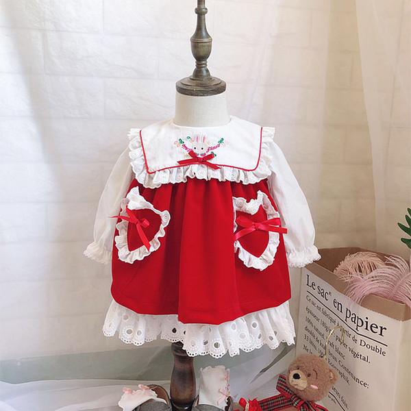 Nuovo stile spagnolo nel Regno Unito Abbigliamento per bambina Abito da ragazza di velluto rosso senza maniche Abito elegante festivo + Camicia Autunno autunnale