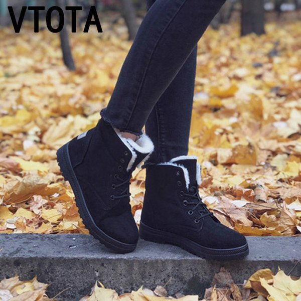 VTOTA Women Snow Boots Warm Winter Boots Botas Mujer 2018 Flat Lace Up Fur Ankle Boots Platform Ladies Winter Shoes Black H189
