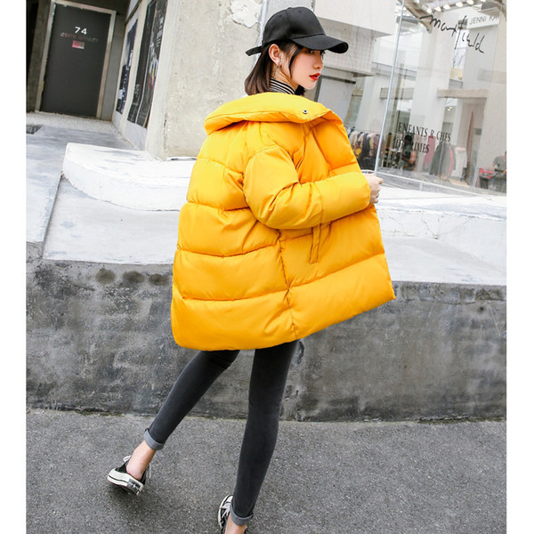 Oversize Cotton Woman Chic Down Cotton-padded Jacket Woman Tide Ins Bread Serve Girls Long Fund
