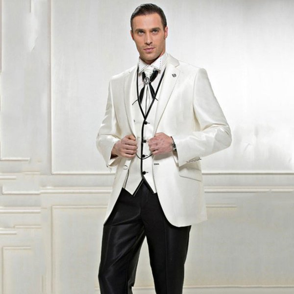 Vintage Ivory Satin Trajes de hombre Business Men Suits for Wedding Groom Tuxedo Man Outfits 3Piece(Coat Pants Vest)Slim Fit Costume Homme