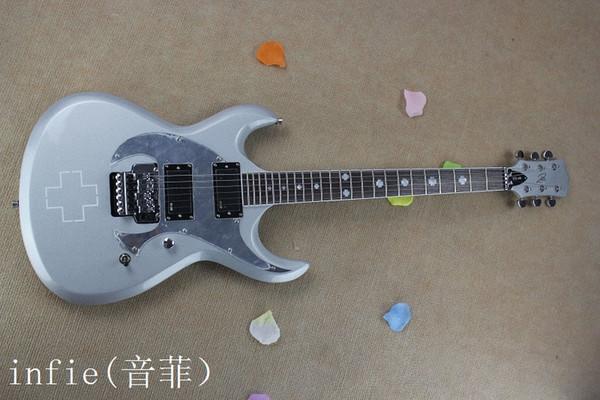 Frete grátis HOT Atacado de alta qualidade Custom Shop pick-up LTD RZK-600 Silver Grey Jazz guitarra elétrica