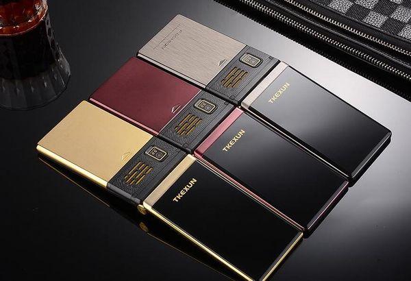 Original tkexun m2 telefone celular de metal flip senior luxo dual sim câmera mp3 mp4 3.0 polegadas touch screen do telefone móvel