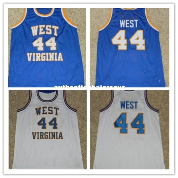 Cheap #44 JERRY WEST WEST VIRGINIA MOUNTAINEERS Basketball Jerseys Retro Throwbacks Embroidery Stitched Custom Any Name And Number