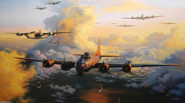 Alta Qualidade Guerra Mundial 2 Aeronaves Militar Bomber Pintura A Óleo Da Arte Da Parede Pintado À Mão HD Impressão de Arte Na Lona Home Office Deco l24
