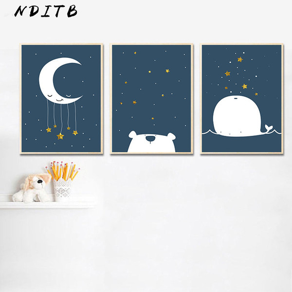 Baby Nursery Canvas Poster Cartoon Whale Moon Wall Art Print Minimalist Painting Decoration Picture Nordic Kid Boy Bedroom Decor
