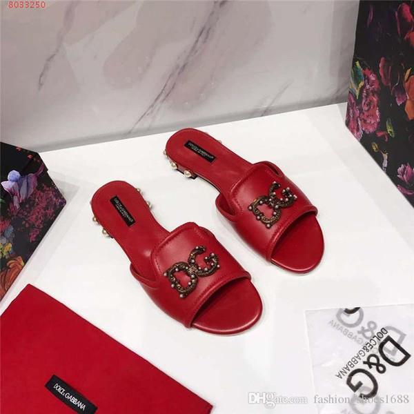 Sandalias de cuero con perlas de color diamante y goma, zapatillas de playa con hebilla para mujer tipo de cinturón, zapatillas planas para mujer tamaño 34-42