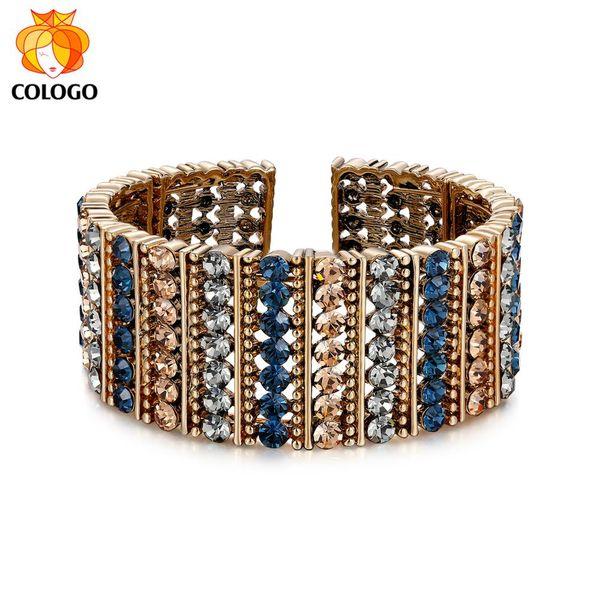COLOGO NUEVO Original Glittering High SteelBangles Brand Charm Bracelets para mujeres Boda Mujer Joyas Regalos BBKN03
