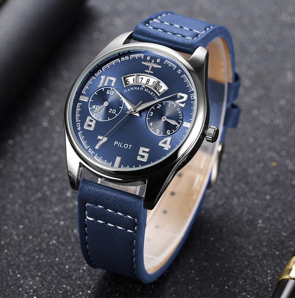 Nouvelle montre de calendrier de montre de calendrier de pilote de ceinture de quartz de pilote de montre à quartz d'autorisation transfrontalière de l'homme