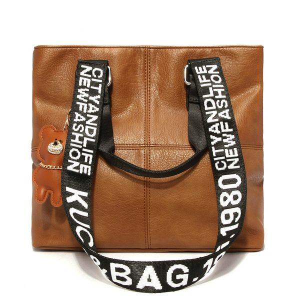 Brand Vintage Shopping Tote Bag With Wide Strap Women Large Capacity Single Shoulder Bag Cute Bear Brown Ladies Handbags