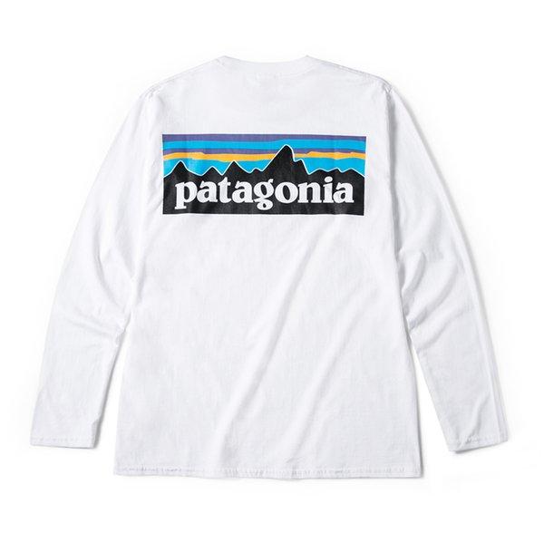 Patagonia montanha Homens Designer de camiseta Primavera Outono Impressão Branca Moda Camiseta Manga Comprida Tops Tees