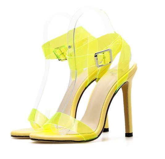 Fluorescent yellow transparent PVC cross strappy gladiator sandals fashion luxury designer women high heels orange yellow size 35 To 40