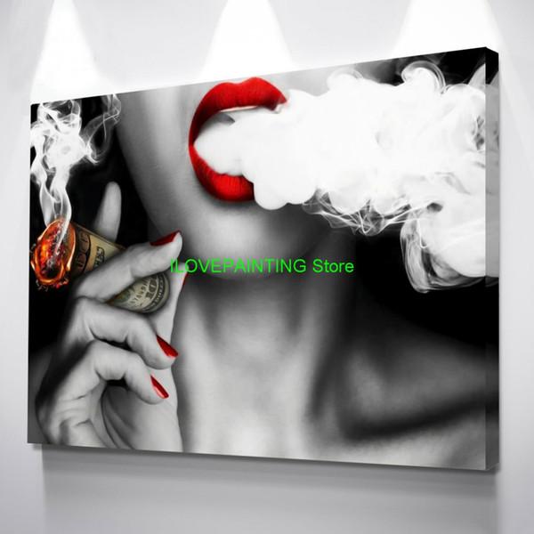Mur Art Toile Peintures 1 Pc Graffiti U.S.Dollar Argent Nuages Fille Lèvres Sexy Abstrait Affiche Photos Home Decor Salon