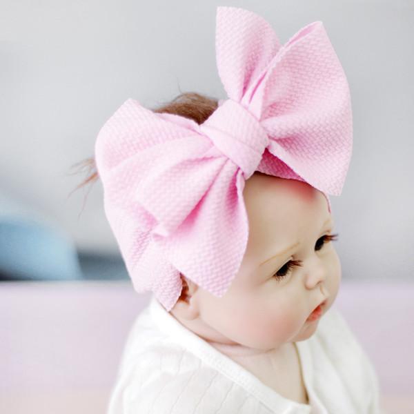 Bebek Düğüm Bandı Kızlar büyük yay bantlar Elastik Ilmek hairbands Türban Katı Şapkalar Kafa Wrap Saç Bandı 100 adet GGA2009