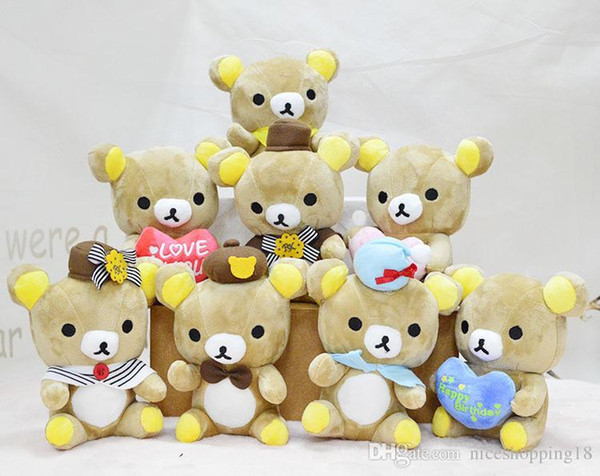 Cute Rilakkuma Bear Plush Toys 18cm Easy Bear Stuffed Dolls Cartoon Animal Wedding Gift Doll for Kids 409