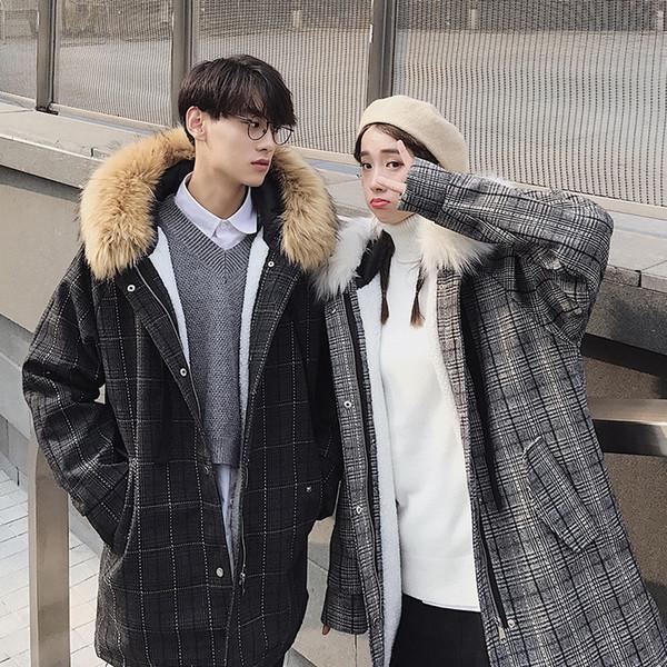 Coat Winter Men's Warm Fashion Retro Casual Plaid Parka Men Fur Collar Hooded Coat Street Wild Cotton Long Jacket Male Clothes