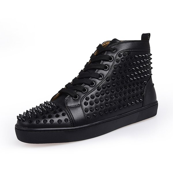 Top designer luxury red bottoms shoes unisex men women red bottoms heels Fashion Spikes Studded Spikes Flats Sneakers red bottom shoes
