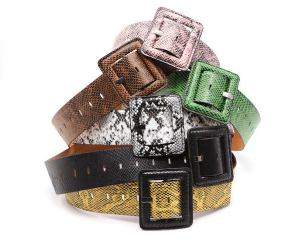 2019 nuevo estilo de piel de serpiente patrón generoso hebilla cinturón capa de piel decoración marca de moda hebilla pin sello de cintura