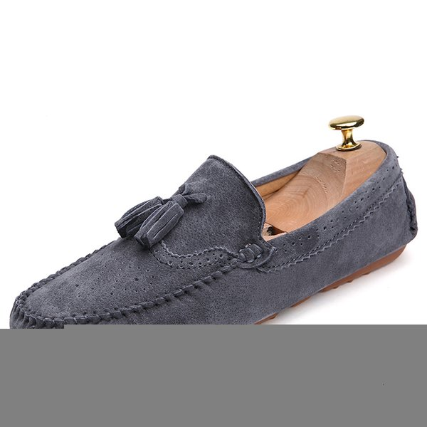 Men Loafers Navy Blue Genuine Leather Moccasins Slip On Tassel Casual Shoes Flats Moccasin Driving Shoes,Khaki,9.5
