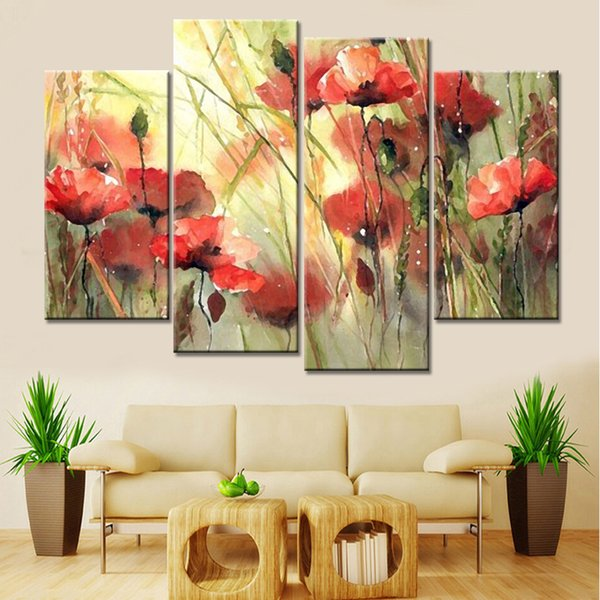 canvas art No Frame Drop Shipping 4 Panels Modular Paintings Cuadros Decoracion Flowers Canvas Art Pictures for Living Room Home Decor