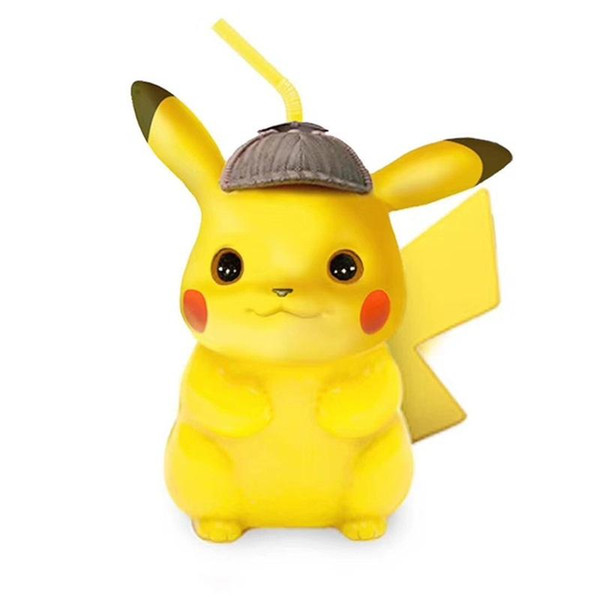 Gran Detective Pikachu Cup Styling Tumbler Adulto Niño Taza de Paja Precioso de Una Sola Capa Amarillo Ventas Calientes Duraderas 29zh C1
