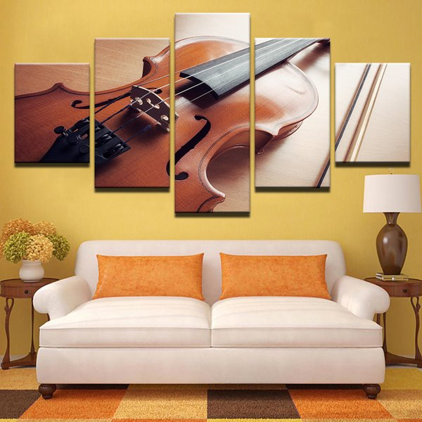 Wall Art Painting HD Printed Unframed Canvas Poster Home Decor 5 Panels Musical Instrument Violin Living Room Modular Pictures