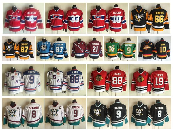 Vintage Kids Hockey Jersey Canadiens 4 Jean Beliveau 9 Maurice Richard 10 Guy Lafleur 33 Patrick Roy 87 Sidney Crosby 66 Mario Lemieux Youth