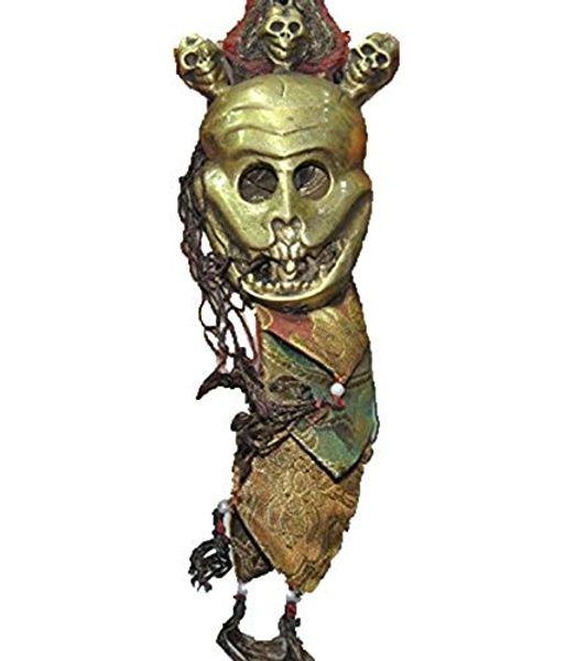 Vieux Tibet Bouddhisme tantrique amulette statue masque de crâne de soie bronze Pendentif