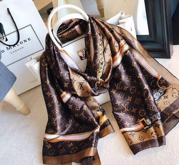 Spring silk scarf 2019 Hot women Letter shawl scarf fashion long neck ring Christmas gift wholesale 180x90cm