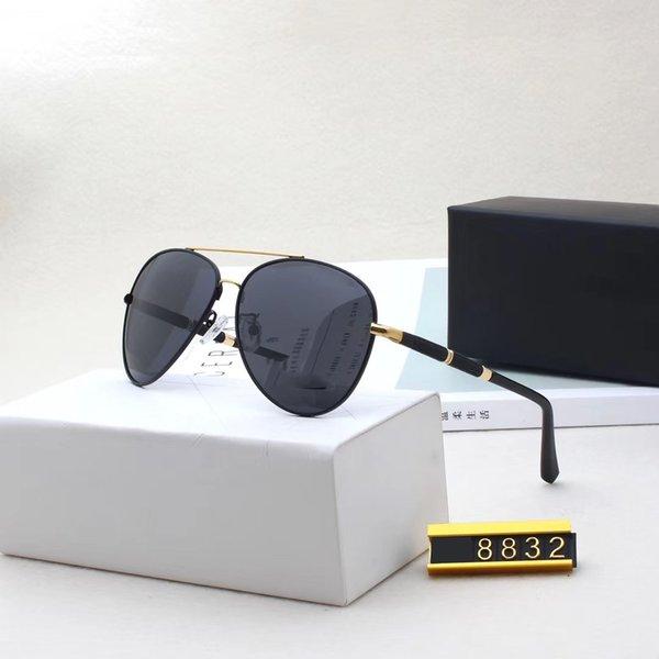 Marka Tasarımcı Güneş Yüksek Kalite Metal Menteşe Güneş Erkekler Gözlük Kadınlar Güneş 8832 ile UV400 mercek Unisex gözlük