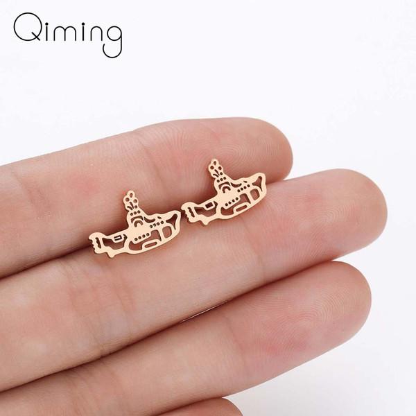 2019 New Submarine Stud Earrings for Women Kids Ocean Boat Ship Piercing Gold Earrings Fashion Jewelry Birthday Party Gift