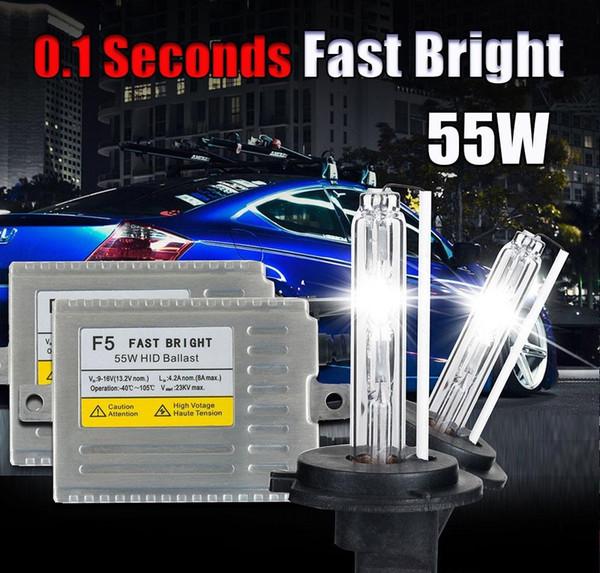 0.1 SEGUNDO H7 XENON kit HID Lastro de partida rápida 12 v 55 w F5 H1 H3 H4 H7 H11 9005 9006 881 D2S lâmpada de xenônio escondida lâmpada do farol do carro