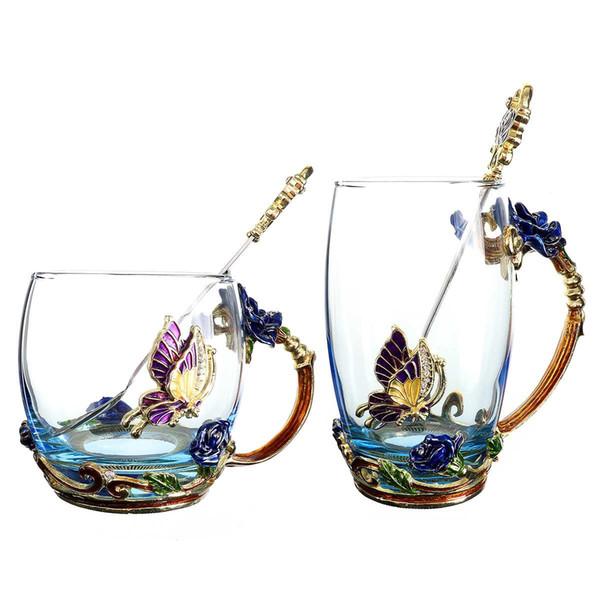 Эмаль прозрачное стекло кофе чай кружка синие розы термостойкие чашки с ложкой из нержавеющей стали каботажное судно и протрите ткань