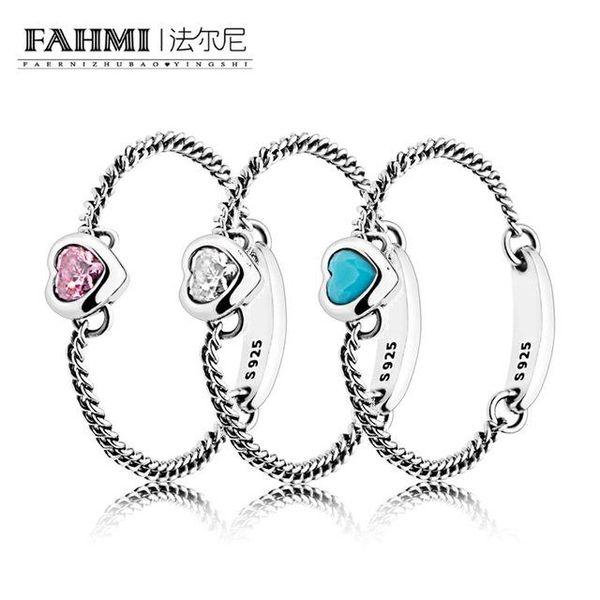 FAHMI 100% 925 Sterling Silber Charm Ring GEISTETES HERZ BLUE GEISTETES HERZ ROSA GEISTETES HERZ