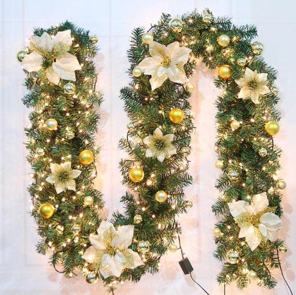 LED Christmas Decorations Rattan Bar Tops Ribbon Christmas Home Decoration Garland Christmas Tree Ornaments Green Rattan 2.7m SN1721