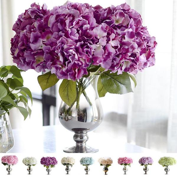 Cinq têtes de grandes plantes artificielles d'hortensia Home Decoration Accessories Cactus Decoracion