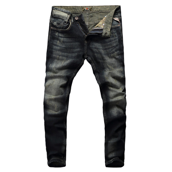 2019 New Fashion Classic Jeans Hombres Vintage Designer Cotton Denim Pants Slim Fit Retro Washed Ripped Jeans para hombres Pantalones