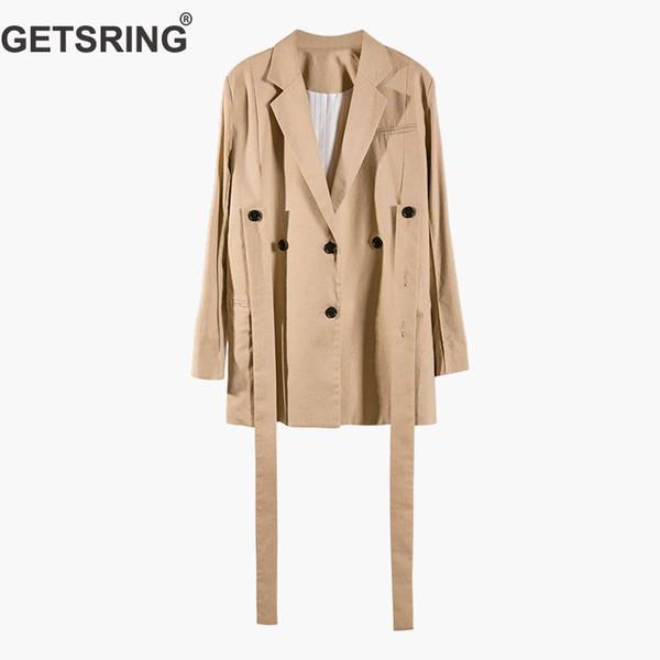 GETSRING Femme Manteaux Irrégulier Streamer Coton Costume Femmes Asymétrie Solide Couleur Lâche Casual Longues Femmes Blazer 2019 Nouvelle Mode