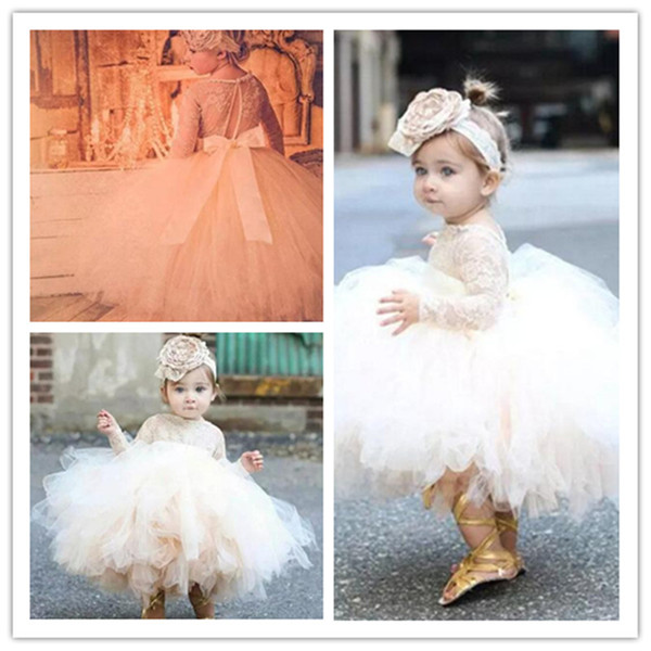 2019 Flower Girl Dresses For Weddings Tulle Lace Tea Length First Communion Dresses For Little Girls