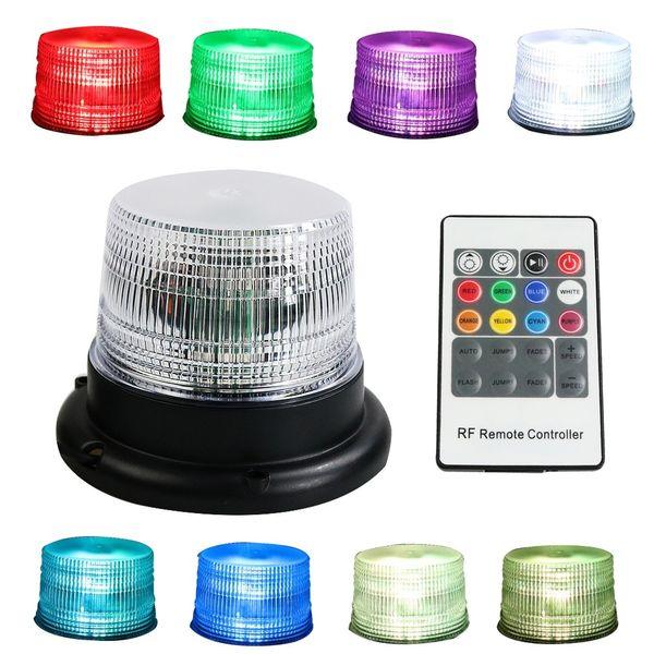 8 colori RGB Telecomando senza fili Veicolo Emergenza Rischio Segnale magnetico Attenzione Attenzione Sicurezza Lampeggiante Lampada stroboscopica